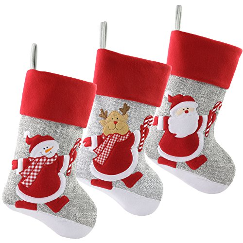 WEWILL 18'' Gray Felt Christmas Stockings Red Cuff Set of 3 Embroidered Snowman Reindeer Santa Claus with Candy Cane Gift Bag Xmas Stockings Home Holiday Decoration (Holder Santa Candy)