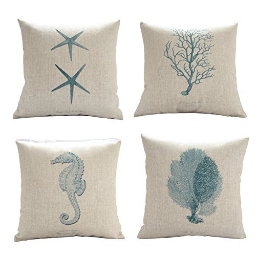 onker-cotton-linen-square-decorative-throw-pillow-case-cushion-cover-18-x-18-starfish-coral-seahorse