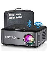 Beamer, 8500 Lumen Beamer Full HD, WiFi Bluetooth Beamer 4K Native 1080P LED Home Theater Video Projector Compatibel met Fire TV Stick, iOS / Android Smartphone, MAC / PC / Laptop, PPT, PS5 (gray)