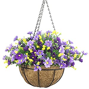 Lopkey Artificial Daisy Flowers Outdoor Indoor Patio Lawn Garden Hanging Basket with Chain Flowerpot,10 inch Dark Purple 30