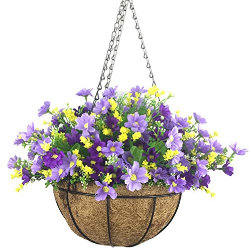 Lopkey Artificial Daisy Flowers Outdoor Indoor Patio Lawn Garden Hanging Basket with Chain Flowerpot,10 inch Dark Purple