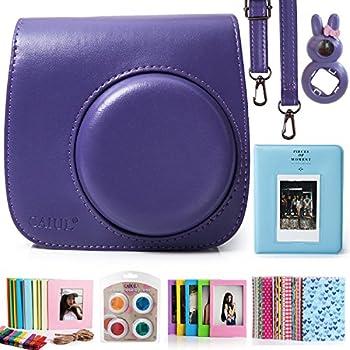 CAIUL Compatible Mini 8 8+ 9 Camera Case Accessories Bundle Kit for Fujifilm Instax Mini 8 8+ 9, Purple (7 Items)