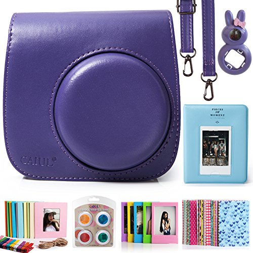 CAIUL 7 in 1 Fujifilm Instax Mini 8 8+ Camera Accessories Bundle (Purple Instax Mini 8 Case / Mini Album / Close-Up Selfie Lens / 4 colors Filters / Wall Hang Frames / Film Frames / Film Stickers) (Polaroid Instax 8 Purple)