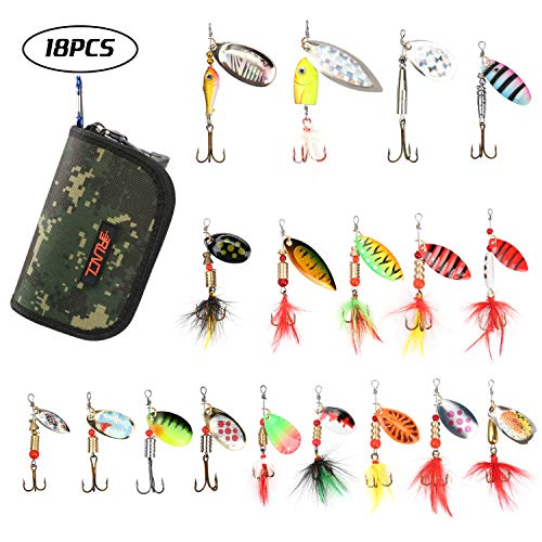 (RUNCL Fishing Spinners, Minnow/Dressed Spinners, Hard Metal Spinners - Hand-Tied Hackle Tail, Shaft-Through-Blade Design, Treble Hooks, Proven Patterns, Carry Box/Pouch (Pack of 18))