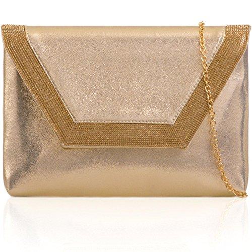 Xardi London metálico soporte de sobre de embrague piel sintética mujeres diamante noche novia bolsas dorado