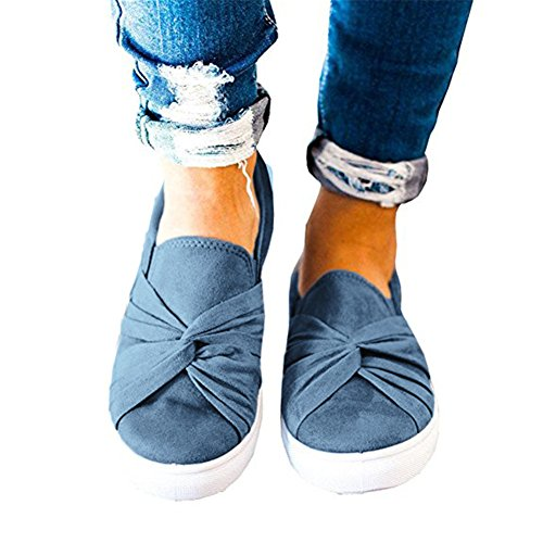 Fashion Womens Huiyuzhi Ruched On Knot Sneakers Blue Denim Slip Flatform Top 0ddqTH4w