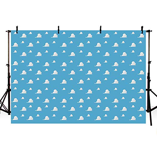 - MEHOFOTO Photography Backdrops Cute Blue Sky and White Cloud Birthday Party Decoration Banner Wallpaper Photo Studio Booth Background 7X5ft