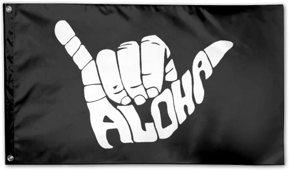 UDSNIS Aloha Hand Hawaii Symbol Garden Flag 3 X 5 Flag For Yard Decor Banner Black