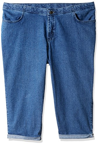 Riders by Lee Indigo Women's Plus Size Comfort Collection 4 Pocket Cuffed Denim Capri, Mid Shade, 18W