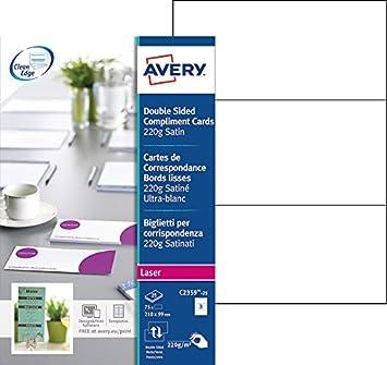 Avery 100 Cartes De Correspondance Bords Lisses 260g