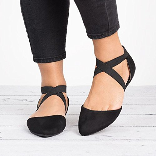 Zapatos Colores Planos Verano Ocio Gamuza Mujer Primavera Moda Sandalias de Otoño Apuntado 3 Negro Sandalias 43 Sandalias Cruzada 35 Suela Correa Sandalias Cerradas Goma 4xtRxwqa