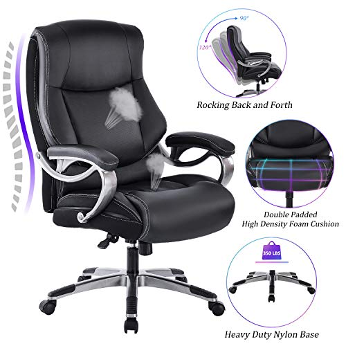 REFICCER Big & Tall High Back Executive Office Chair – Bonded Leather Ergonomic Computer Desk Swivel Chair with Tilt Function, Thick Padding Headrest and Armrest
