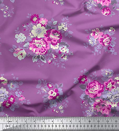- Soimoi Crafting Cotton Voile Fabric Floral Printed 58 Inches Wide Sewing Material by The Yard-Lavender