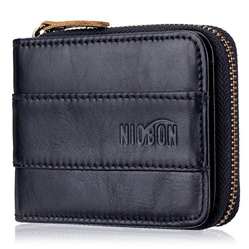 Mens RFID Blocking Genuine Leather Wallet,Vintage Bifold Credit Cards Holder (Black) ()