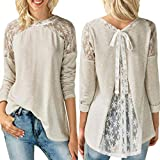 Zlolia-Blouses Preferential Womens O Neck Lace Long Sleeve Bowknot Blouse Tops T Shirt