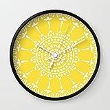 Society6 Thai Sun Yellow Wall Clock Black Frame, White Hands