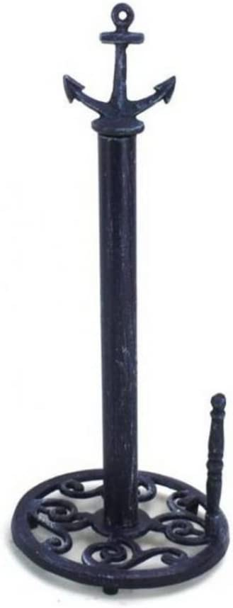 "Hampton Nautical Rustic Dark Blue Anchor Paper Towel Holder 16"" Decoration-Vintage Cast Iron"
