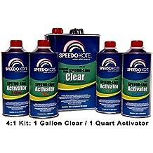SpeedoKote SMR-130/75-K-M - Automotive Clear Coat Fast Dry 2K Urethane, 4:1 Gallon Clearcoat Kit w/Medium Act.