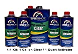SpeedoKote SMR-130/60 - Automotive Clear Coat Fast Dry 2K Urethane, 4:1 Gallon Clearcoat Kit with Fast Activator