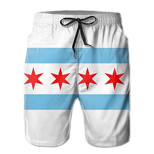 ZQ-SOUTH Men's Chicago City Flag Vintage Quick Dry Summer Beach Surfing Board Shorts Swim Trunks Cargo - Flag Chicago Mens Shorts
