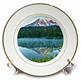 3dRose Danita Delimont - Mountains - Mt.Rainier, reflection, Mirror Lake, Mt.Rainier NP, Washington, USA - 8 inch Porcelain Plate (cp_279747_1)
