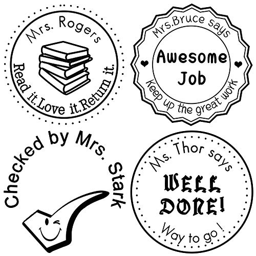 (Custom Rubber Stamps Self Inking Stamps Personalized-Teacher Library Book Stamps 1-5/8