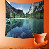 UHOO2018 Square Tapestry Mirror Lake in Yosemite Throw, Bed, Tapestry, or Yoga Blanket 63W x 63L Inch