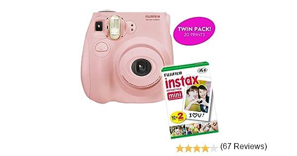 Fujifilm Instax Mini 7S - Cámara de impresión instantánea (reacondicionado certificado) más paquete doble de principiante de película fotográfica | 10 hojas x 2=20 hojas de fotografía de exposición instantánea