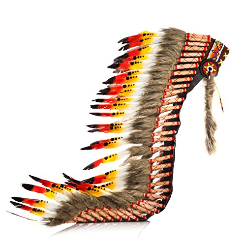 Boho Basics Native American Indian Inspired Feather Headdress Orange Red & White (Length: (Indian Village Costumes)