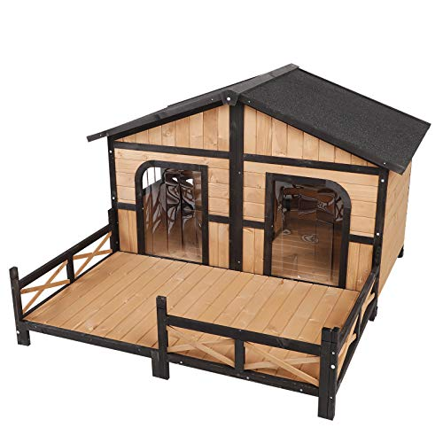 Stable Dog House - PawHut Wood Raised Outdoor Weatherproof Rustic Log Cabin Style Pet Dog House