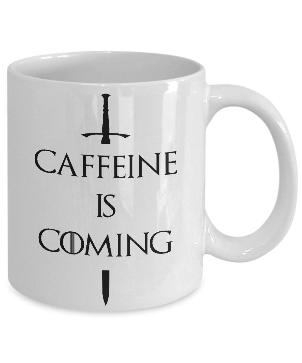 Amazon.com: Caffeine Is Coming Mug White Acrylic Coffee 11oz GOT Fan ...