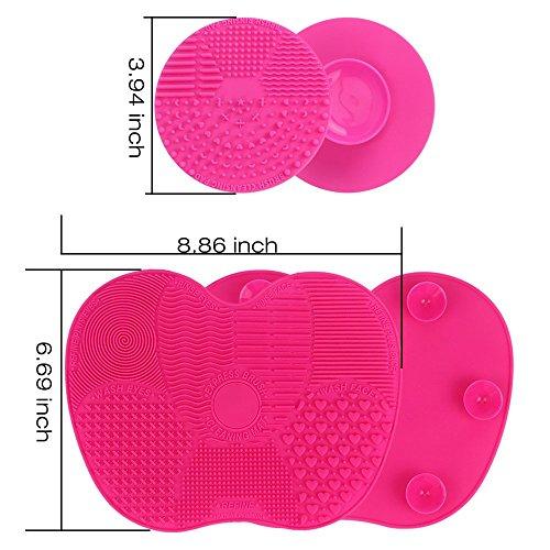 Makeup Brush Cleaning Mat, ESARORA Makeup Brush Cleaner Pad Set of 2 Cosmetic Brush Cleaning Mat Portable Washing Tool Scrubber Suction Cup (Pink)