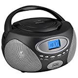 HANNLOMAX HX-311CD Portable CD/MP3 Boombox, PLL AM/FM Radio, USB Port for MP3 Playback, Aux-in, LCD Display, AC/DC Dual Power Source(Grey)