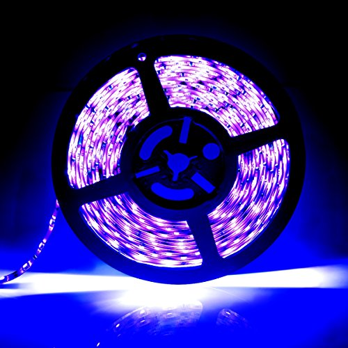 [Upgrade]UV/Ultraviolet Blacklight Waterproof LED Black Strip Lights, 16.4ft/5m Cuttable LED Light Strips, 300 Units 3528 LEDs Lighting String, Power Adapter not Included