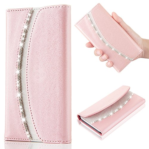 For Samsung Galaxy S6 Edge Case,Bling Bling Luxury Crystal Diamond [Rhinestones] Flip PU Leather Case,[Stylish Handbag] with Magnetic Wallet Card Case Cover For Samsung Galaxy S6 Edge - Rose Gold