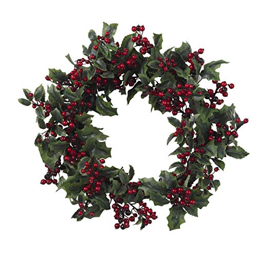 GREATHOPES 24'' Holly Berry Wreath Decoration Silk Flowers
