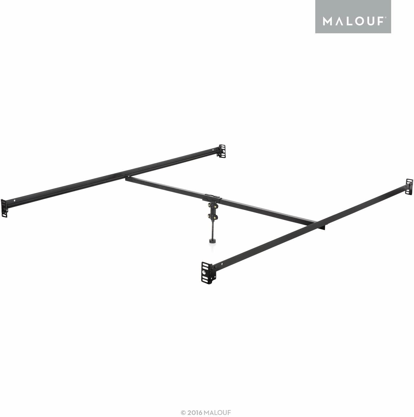 MALOUF Structures Bolt-on Metal Bed Rail System with Center Support Bar and Adjustable Height Leg, Queen, Black