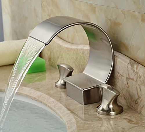 Rozin Dual Handles Bathtub Faucet Arc Waterfall Spout Sink Mixer Tap Brushed Nickel