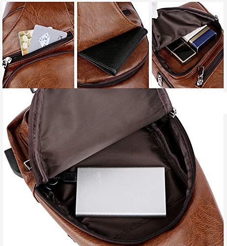 Sling Bag Men Chest Shoulder Backpack Crossbody Bag with USB Charging Port for Women Hiking Cycling Camping Daypacks (drak brown -3) by MeKaren (Image #4)
