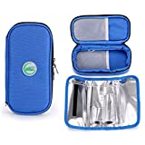 BTSKY Insulin Cooler Travel Case- Portable Diabetics Medication Insulated Cooling Bag for Insulin Pens with Temperature Display, Cools up to 10 Hours (Blue)