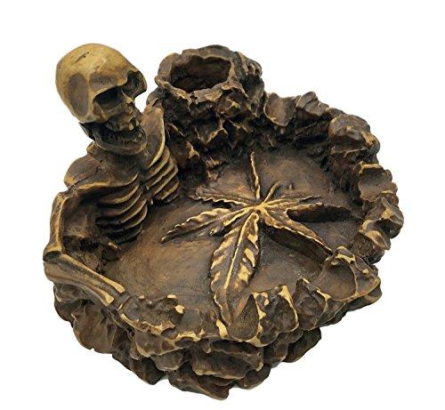 Handmade-Skull-Ashtray-Marijuana-Pot-Leaf-Ashtray-Very-Decorative