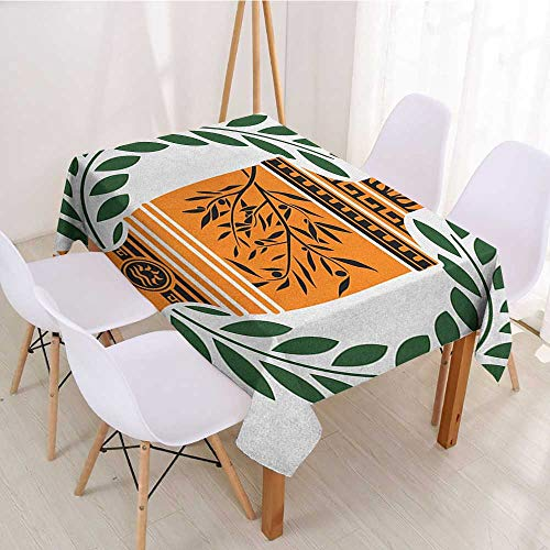 - Printed Fabric Tablecloth Toga Party,Old Antique Greek Vase with Olive Branch Motif and Laurel Wreath,Hunter Green Orange Black,for Buffet Table,Parties,Holiday Dinner,Wedding & More 52