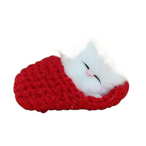FOONEE Mini Kawaii Gato Sounders Juguete, Dormir Zapatillas Gatos Muñeca Mascotas Simulación Gato Gato Peluche