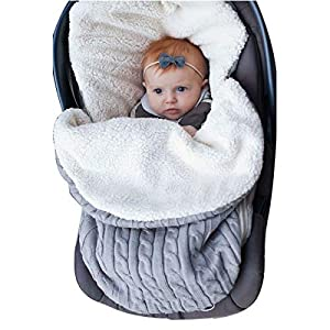Newborn Baby Swaddle Blanket Wrap, Thick Baby Kids Toddler Knit Soft Warm Fleece Blanket Swaddle Sleeping Bag Sack Sleep Bag Stroller Unisex Wrap for 0-12 Month Baby Boys Girls (Grey)