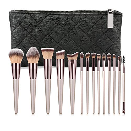 Aolongli 14Pcs Makeup Brushes Set & Zip Bag Professional Kabuki Brush Set Premium Synthetic Hair Foundation Eyeshadow Powder Blending Eyebrow Eyelash Brushes Cosmetic Makeup Brush Kit (Champagne Gold)