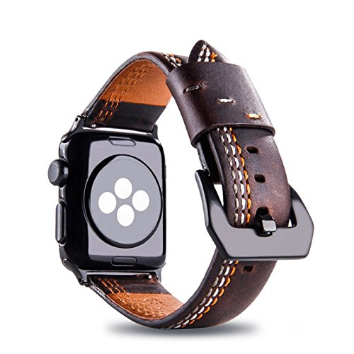 - For Natural Leather Apple Watch 42 Band, Soft Genuine Cowhide Leather iWatch Strap Replacement for Apple Watch 42mm Series 3 2 1 ZTY(Coffee)