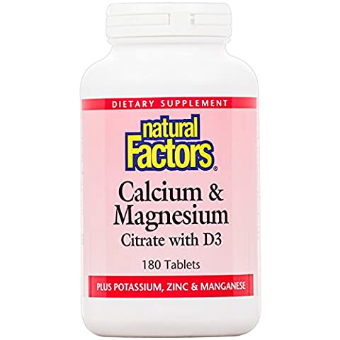 Natural Factors - Calcium & Magnesium Citrate with D, With Potassium, Zinc & Manganese, 180 Tablets - Mag 250 Tabs
