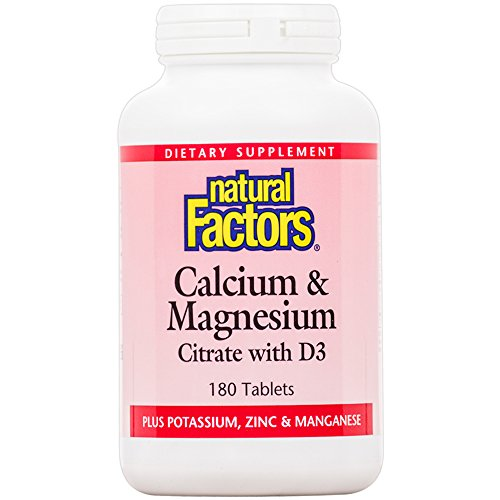 - Natural Factors - Calcium & Magnesium, Supports the Maintenance of Strong, Healthy Bones and Teeth with Vitamin D3, Silicon, and Potassium, 180 Tablets