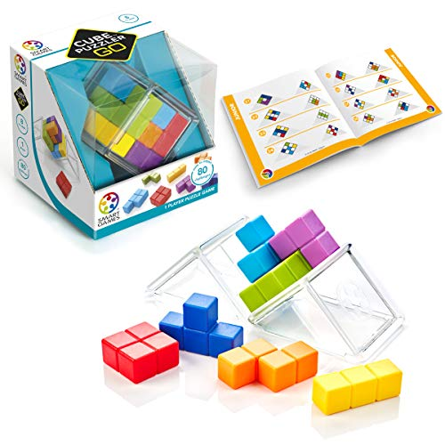 SmartGames Cube Puzzler GO - 3D STEM Game - Brain Teaser for Ages 8 & Up, 80 Challenges in Portable Display -