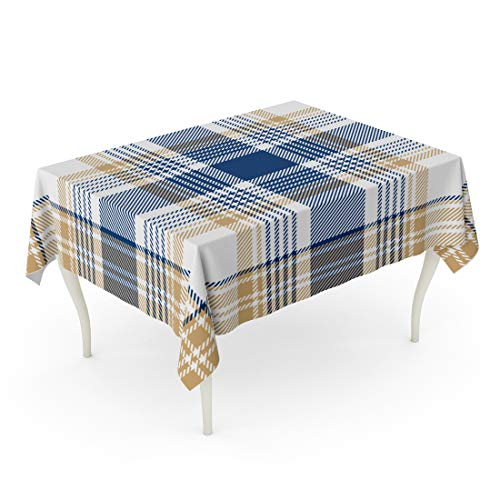 Emvency Rectangle Tablecloth 52 x 70 Inch Red Check Blue Beige White Checkered Plaid Printing Pattern Yellow Tartan Madras Abstract British Table Cloth